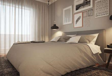 Apartamento Antas, Porto: Quartos modernos por ASVS Arquitectos Associados