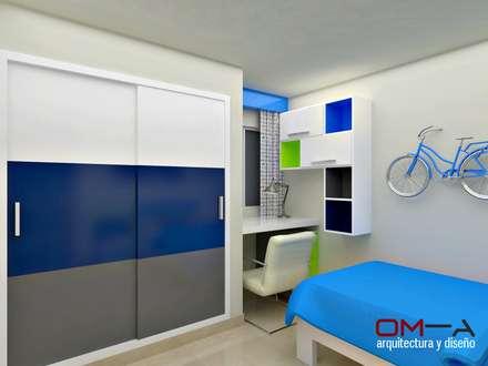 Diseño interior en apartamento, espacio dormitorio de niño: Cuartos infantiles de estilo moderno por om-a arquitectura y diseño