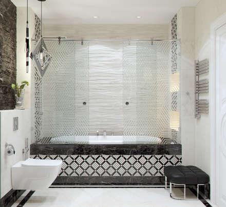 """Ванная комната """"Black & white"""" vol. 2: Ванные комнаты в . Автор – Студия дизайна Дарьи Одарюк"""