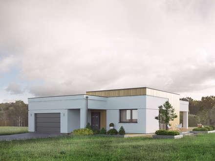 Wizualizacja projektu domu Alibi: styl nowoczesne, w kategorii Domy zaprojektowany przez BIURO PROJEKTOWE MTM STYL