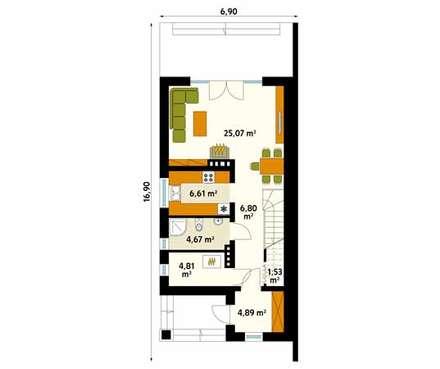 Rzut parteru projektu domu Koliber 4: styl , w kategorii Ściany zaprojektowany przez Biuro Projektów MTM Styl - domywstylu.pl