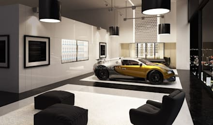 Glazed Wall Displays: modern Wine cellar by Vinomagna - Bespoke Wine cellars
