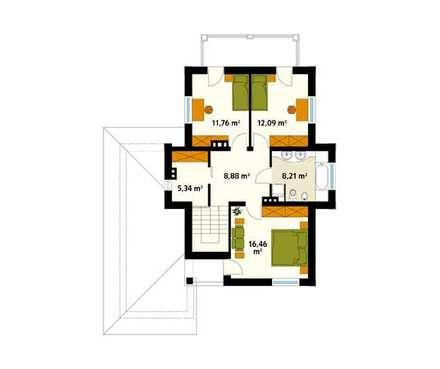 Rzut piętra projektu domu Cyprys: styl , w kategorii Ściany zaprojektowany przez Biuro Projektów MTM Styl - domywstylu.pl