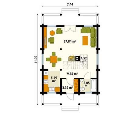 Rzut parteru projektu domu Konwalia bal: styl wiejskie, w kategorii Ściany i podłogi zaprojektowany przez BIURO PROJEKTOWE MTM STYL
