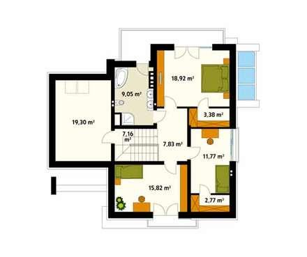 Rzut poddasza projektu domu Jaspis: styl , w kategorii Ściany zaprojektowany przez Biuro Projektów MTM Styl - domywstylu.pl