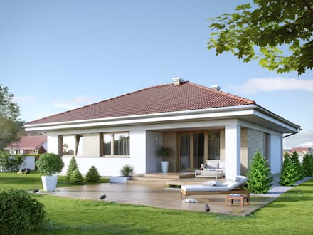 Wizualizacja projektu domu Kiwi 3: styl nowoczesne, w kategorii Domy zaprojektowany przez Biuro Projektów MTM Styl - domywstylu.pl