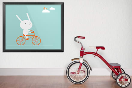 Bunny on a bike: minimalistic Nursery/kid's room by Pixers