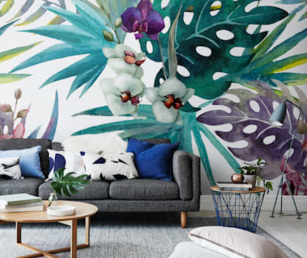 Botany in living room: tropical Living room by Pixers