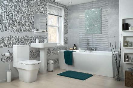 Black&White waves: modern Bathroom by Pixers
