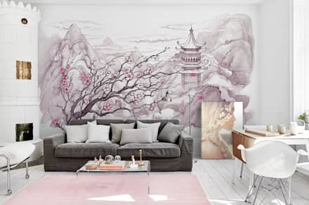Japanese Mountains: eclectic Living room by Pixers