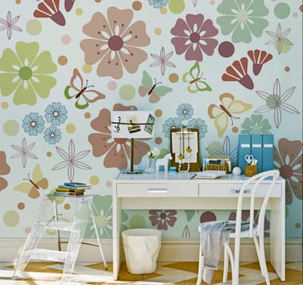 Butterflies and Flowers: rustic Study/office by Pixers
