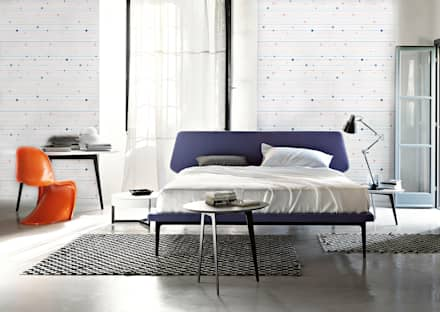 Stripes and Squares: minimalistic Bedroom by Pixers