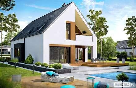 PROJEKT DOMU RIKO III G2 - pełna harmonia wnętrza z ogrodem! : styl nowoczesne, w kategorii Domy zaprojektowany przez Pracownia Projektowa ARCHIPELAG