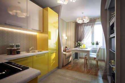 Дизайн-проект однокомнатной квартиры для семьи с ребёнком: Кухни в . Автор – Студия Инстильер   Studio Instilier
