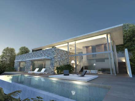 Maison A: Piscine de style de style Moderne par ARRIVETZ & BELLE