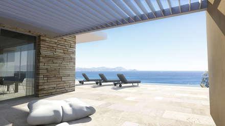 Villa contemporaine: Terrasse de style  par ARRIVETZ & BELLE