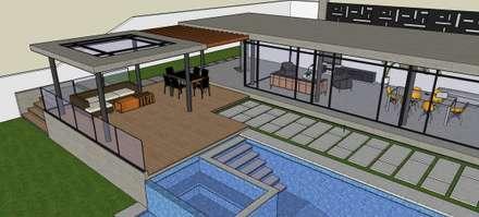 Exteriores de Casa Moderna - Diseño Arquitectonico: Piscinas de estilo moderno por Atahualpa 3D