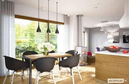 Projekt domu Riko III G2   słoneczna jadalnia i ogród na wyciągnięcie ręki : styl , w kategorii Jadalnia zaprojektowany przez Pracownia Projektowa ARCHIPELAG