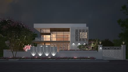 EXTERIOR NIGHT VIEW: modern Houses by De Panache  - Interior Architects