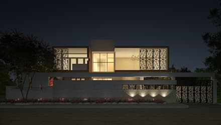 EXTERIOR NIGHT VIEW: classic Houses by Depanache Interior Architects