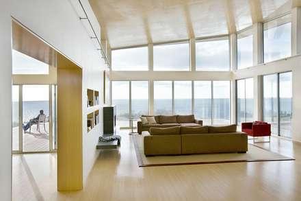 Vaulted modern living room: modern Living room by ZeroEnergy Design