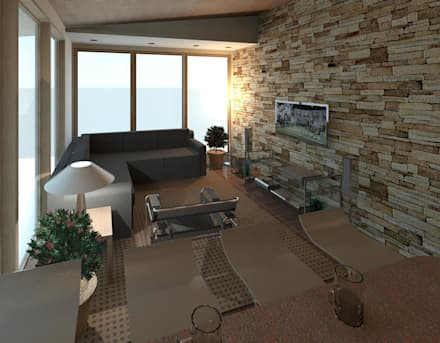 vista interna desde la barra: Anexos de estilo moderno por Diseño Store