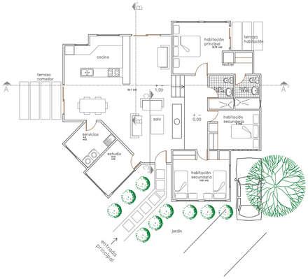 Planta de distribución: Salas / recibidores de estilo rural por Loft 5101 F.P.
