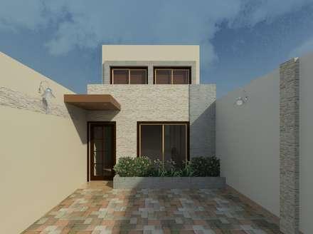 Vista diurna de la fachada: Casas de estilo moderno por Diseño Store
