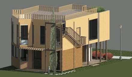 Fachada posterior: Casas de estilo minimalista por Loft estudio C.A.