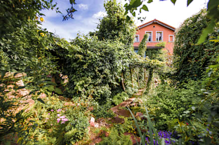Dschungelatmosphäre durch berankte Robinienstämme : tropischer Garten von Gartenarchitekturbüro Timm
