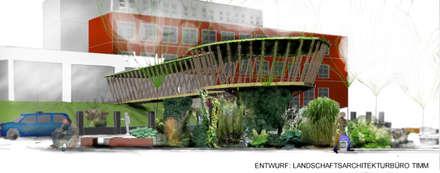 Vision eines multifunktionalen Holz-Pavillons auf dem Neuen Blumenplatz: tropischer Garten von Gartenarchitekturbüro Timm