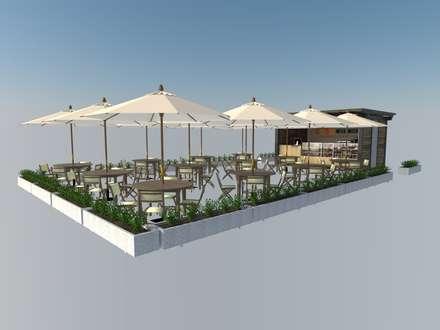 Area de Cafe: Restaurantes de estilo  por Atahualpa 3D