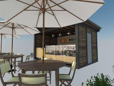Mesa y Kiosco: Restaurantes de estilo  por Atahualpa 3D