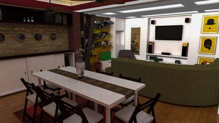 Diseño de Apartamento pequeño con elementos multifincionales: Comedores de estilo moderno por Rbritointeriorismo