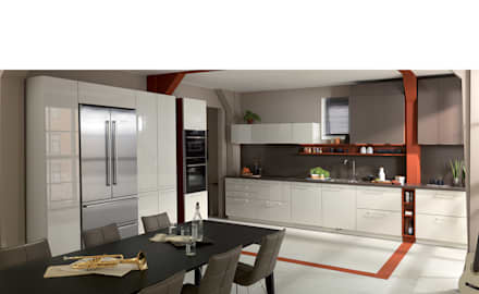 White and brown colour scheme open plan kitchen with dining area : modern Kitchen by Schmidt Kitchens Barnet