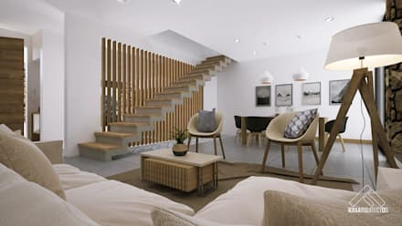 SALA-COMEDOR: Salas de estilo minimalista por FERAARQUITECTOS