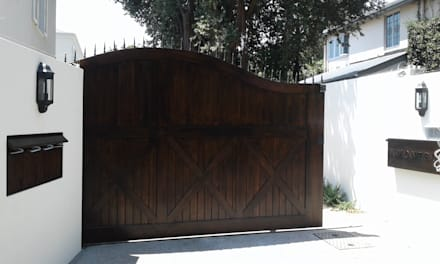 Arched Meranti Sliding Gate :  Windows by Window + Door Store Cape