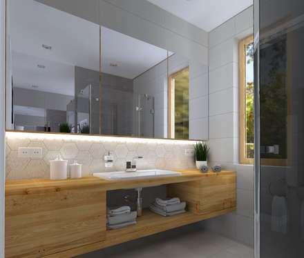 łazienka: styl , w kategorii Łazienka zaprojektowany przez KADA WNĘTRZA S.C.