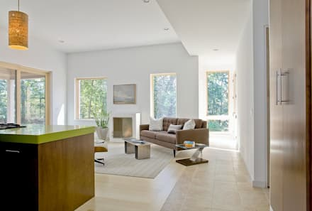 Open concept living space: modern Living room by ZeroEnergy Design