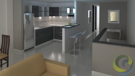 Proyecto Mauricio Enriquez: Cocinas de estilo moderno por EcoDESING S.A.S DISEÑO DE ESPACIOS CON INGENIO