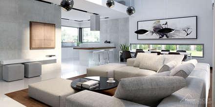 Projekt domu HomeKONCEPT 28: styl , w kategorii Salon zaprojektowany przez HomeKONCEPT | Projekty Domów Nowoczesnych