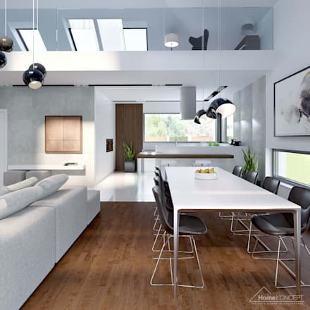 Projekt domu HomeKONCEPT 28: styl , w kategorii Jadalnia zaprojektowany przez HomeKONCEPT | Projekty Domów Nowoczesnych