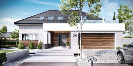 Projekt domu HomeKONCEPT 28: styl nowoczesne, w kategorii Domy zaprojektowany przez HomeKONCEPT   Projekty Domów Nowoczesnych