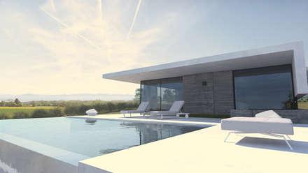 Maison L - Rhône: Piscine de style de style Moderne par ARRIVETZ & BELLE