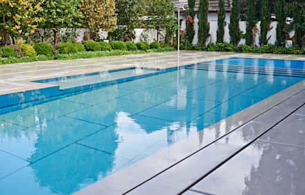Stone covered Movable Floors: modern Pool by AGOR Engineering