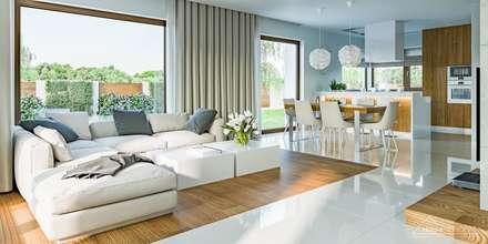 Projekt domu HomeKONCEPT-03: styl , w kategorii Salon zaprojektowany przez HomeKONCEPT | Projekty Domów Nowoczesnych