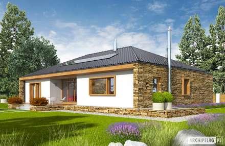 PROJEKT DOMU EX 8 G2 (wersja B) - design z najwyższej półki : styl nowoczesne, w kategorii Domy zaprojektowany przez Pracownia Projektowa ARCHIPELAG