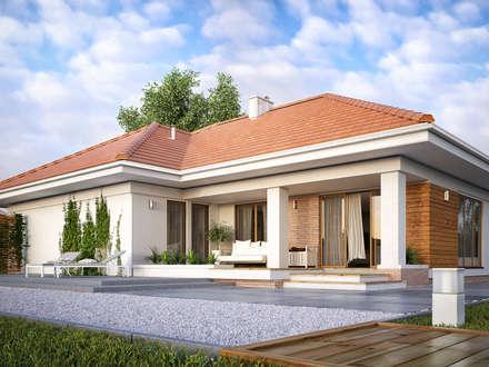 Wizualizacja projektu domu Ambrozja 7: styl nowoczesne, w kategorii Domy zaprojektowany przez Biuro Projektów MTM Styl - domywstylu.pl