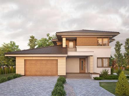 Wizualizacja projektu domu Cyprys 8: styl nowoczesne, w kategorii Domy zaprojektowany przez BIURO PROJEKTOWE MTM STYL
