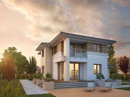 Wizualizacja projektu domu Cyprys 8: styl nowoczesne, w kategorii Domy zaprojektowany przez Biuro Projektów MTM Styl - domywstylu.pl